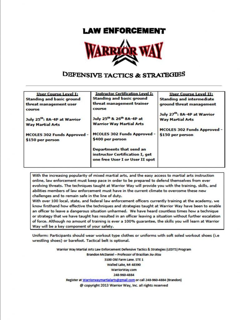 LAW ENFORCEMENT | Warrior Way Martial Arts | Brazilian Jiu